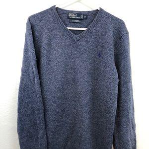 Polo Ralph Lauren Lambswool V Neck Medium Blue